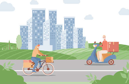 Delivery express service in city vector flat illustration. Men riding on bike and scooter and deliver food or goods.