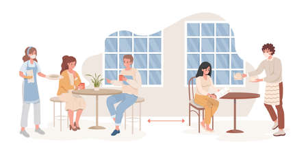 Men and women in cafe or restaurant after Coronavirus outbreak vector flat illustration. Ilustracja