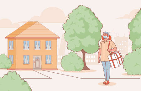 Young woman in medical mask delivers goods or food to country house vector cartoon outline illustration.