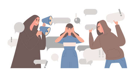 Stop spreading fake news and hoax vector flat illustration. Woman covers ears to stop people telling false news.