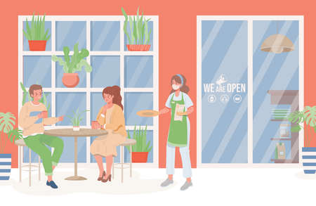 People in restaurant vector flat illustration. Social distance and new normal after Coronavirus outbreak.