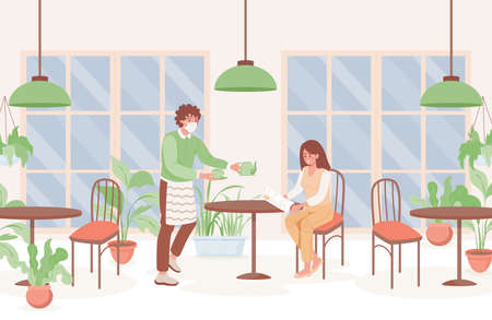 Woman in cafe vector flat illustration.Preventive measures and new normal after Coronavirus outbreak. Ilustracja