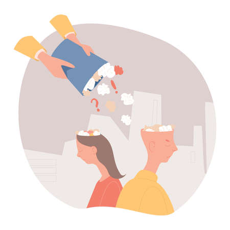 Fake news vector flat illustration. Someone hands filling man and woman heads with informational garbage.