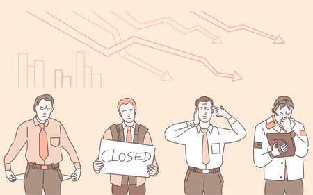 Economic crisis vector cartoon outline illustration. Man holding sign that say closed, man having no money.