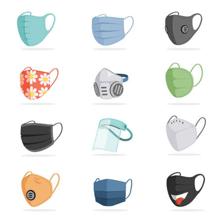 Vector set of breathing protective respiratory masks isolated on white background. Face air pollution masks.