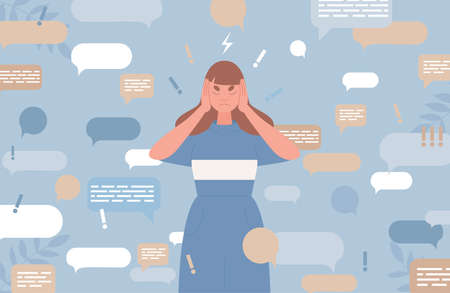 Sad young woman covers ears with hands to stop information noise vector flat illustration. Ilustrace