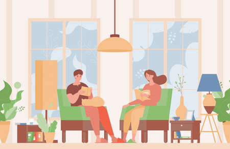 Happy couple in domestic clothes sitting in comfortable armchairs and reading books vector flat illustration. Illustration