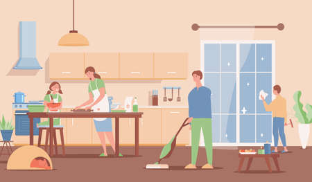 Family spending weekend together at home vector flat illustration. Modern interior design.