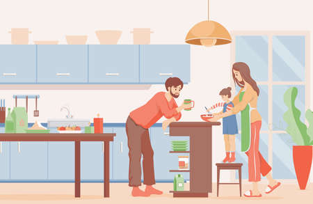 Family time vector flat illustration. Mother, father, and daughter cooking pancakes for breakfast at the kitchen.
