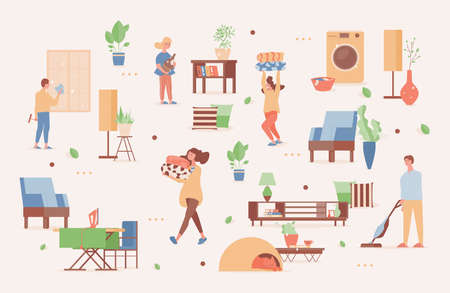 Smiling men and women in domestic clothes cleaning up apartments, tidying their house. Modern furniture design. Illustration