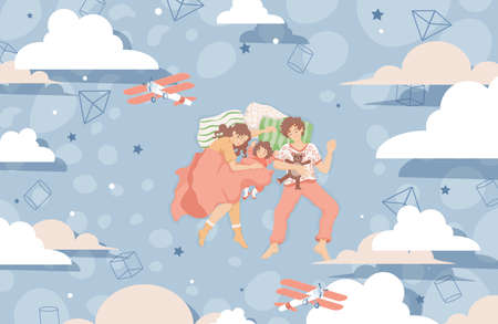 Family sleep together on the bed and dreaming vector flat illustration. Happy family spend time together.
