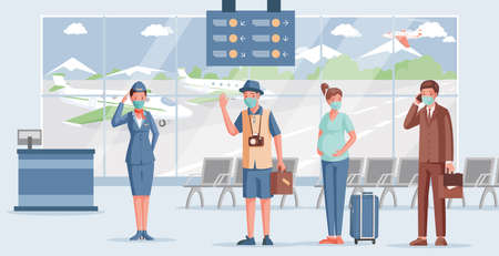 People in airport vector flat illustration. Airport worker in face mask and uniform welcoming passengers.