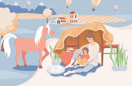 Happy smiling mother reading a book to her daughter before going sleep vector flat illustration.