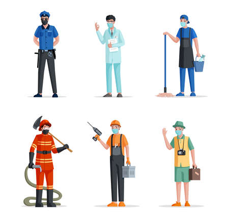 Group of people of different professions. Police officer, doctor, scientist, janitor, fireman, repairman, and traveler. Stock Illustratie