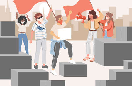 Group of activists at meeting in the city vector flat cartoon illustration. Men and women protesting. Ilustração