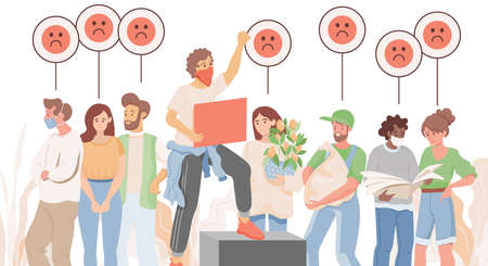 Group of sad people vector flat illustration. Men and women holding bags, plants, protesting.