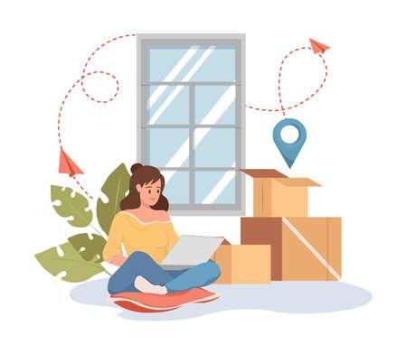 Woman make order on laptop vector flat cartoon illustration. Cargo transportation, relocation service.