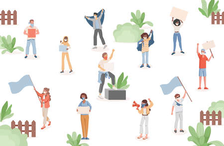 Group of people in protective face masks holding flags, loudspeakers, and placards vector flat illustration. Ilustração