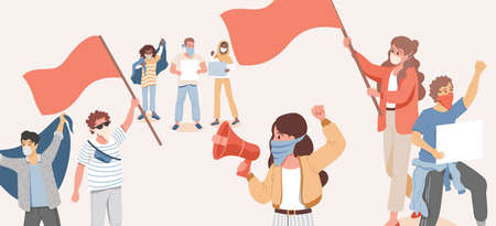 Group of people holding flags, loudspeakers, and placards and protesting vector flat cartoon illustration.