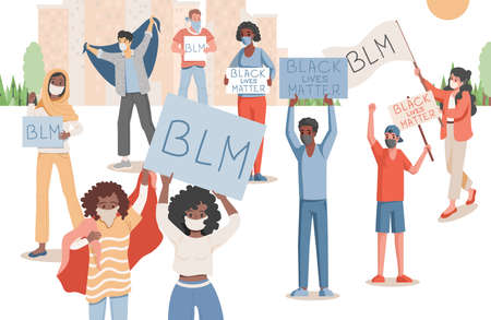 People protesting in city park vector flat illustration. Men and women holding placards with Black lives matter words.