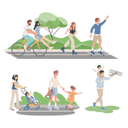 Happy smiling people in comfortable clothes spending summertime together outdoor vector flat illustration. Çizim