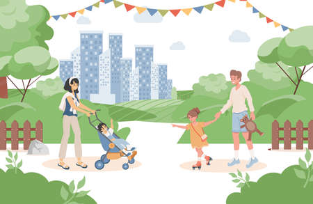 Happy smiling parents with their children walking in urban park at summer vector flat illustration. Vettoriali