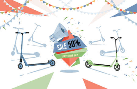 Sale in electric scooters shop vector flat flyer design with text space. Modern eco friendly city transport illustration.
