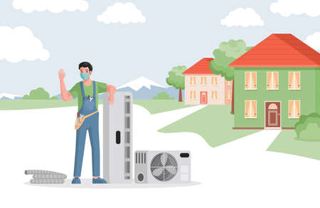 Service of air conditioners installation vector flat illustration. Climate control, air cooling, comfort living concept.