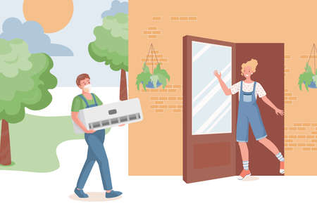 Young repair service professional bring air conditioner to country house vector flat illustration. Illustration