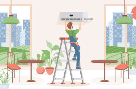 Man installing air conditioner in a restaurant or cafe vector flat illustration. Climate control, comfort living concept. 向量圖像