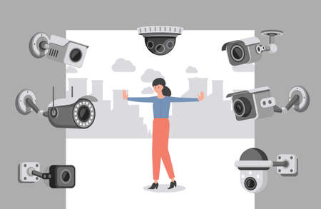 Security cameras scanning young woman vector flat illustration. Face recognition of young girl.