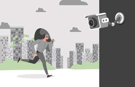 Security camera filming thief with loot. Face recognition system, robber with bag of money vector flat illustration.