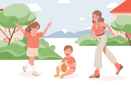 Mother and girl run to crying baby vector flat illustration. Mother and sister care about little boy.
