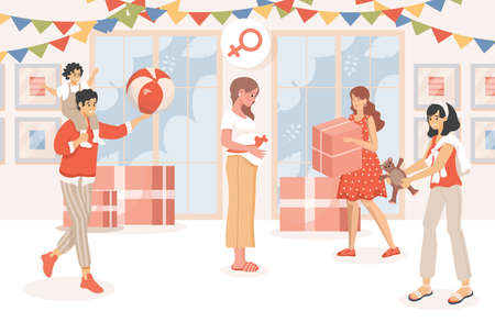 Baby shower party vector flat illustration. Pregnant woman celebrates pregnancy. Friend and family congratulate.