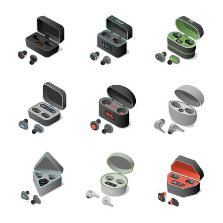 Set of different wireless headphones in rechargeable Earbuds vector isometric 3d illustration.