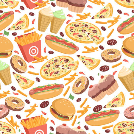Fast food seamless pattern. Fast food vector flat cartoon backdrop.