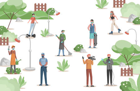 People in city park vector flat illustration. Gardener, police officer, anchorman and cameraman, janitor, skater, and roller skater.