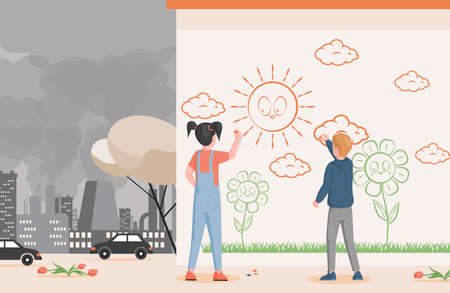 Little boy and girl drawing on the wall in the city vector flat illustration. Children art and polluted city concept.