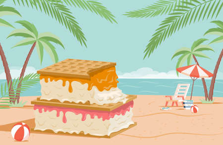 Big tasty ice cream with waffles on summer beach vector flat illustration. Summer time, seasonal recreation concept.