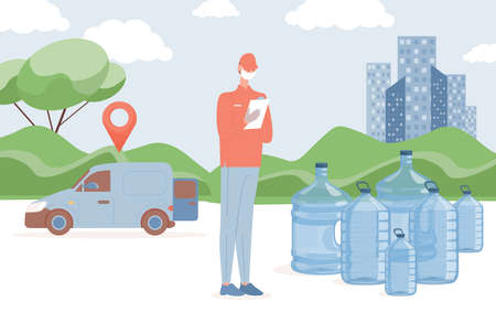 Fresh and clean bottled water delivery vector flat illustration. Delivery man standing near big plastic bottles.
