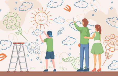 Little boy drawing pictures on the wall vector flat illustration. Mother and father take a picture of children art.