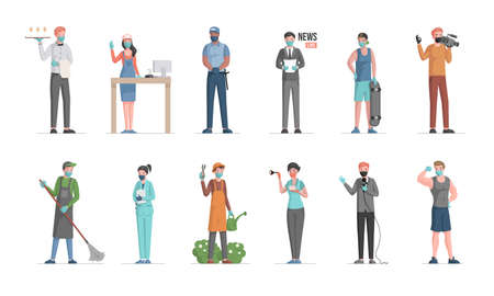Labor Day vector flat concept. Policeman, doctor, gardener, waiter, seller, anchorman, skater, cameraman, sportsman.