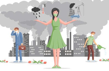Air pollution flat illustration. Sad people in protective face masks. Global warming, air pollution with harmful gases. 矢量图像