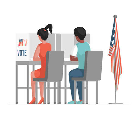Election day in the United States of America vector flat illustration. Democracy elections concept. Illustration