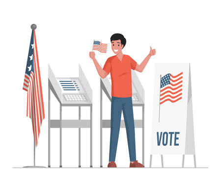Man standing near voting stand, holding flag of the USA, and showing thumb up vector flat illustration.