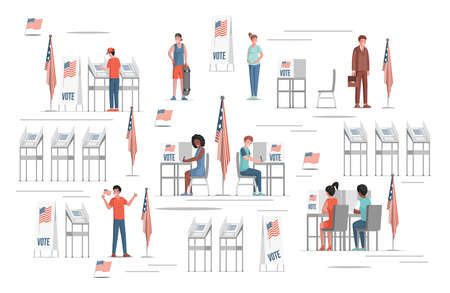 Happy smiling people voting on elections in the USA vector flat illustration. People choosing candidates on ballots. Illustration