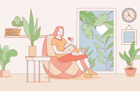 Woman reading a book in apartments vector cartoon outline illustration. Relaxing weekend, spend time at home.