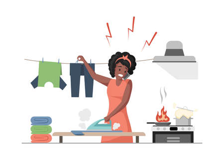 Housekeeping vector flat illustration. Multitasking woman cooking, ironing and speaking at phone vector flat illustration. Vektorové ilustrace