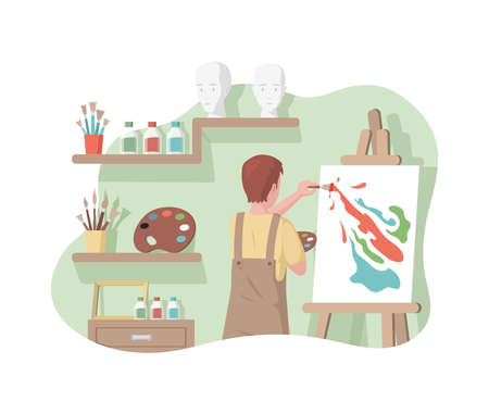 Boy in apron drawing abstract picture on canvas in art studio vector flat illustration. Artist drawing on easel.