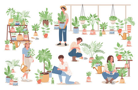 Group of happy young people taking care of home plants vector flat illustration. Agriculture gardener hobby concept.